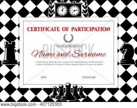 Chess Certificate Diploma Frame, Championship Or Board Games Competition, Vector Template. Chess Par