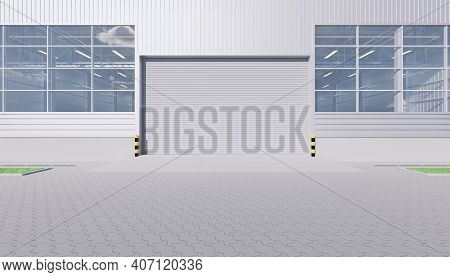3d Rendering Of Commercial Or Industrial Facade. That Is A Property Use As Factory, Warehouse, Hanga