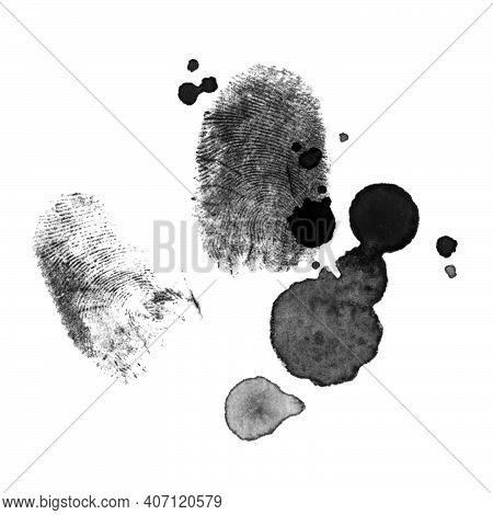 Fingerprints With Blood Splatters, Crime Theme, Thriller, Black Ink Illustration Isolated On A White