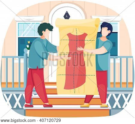 Men Are Holding Pattern Of Future Clothes. Guys In Professional Tailoring Studio With Red Dress Mode