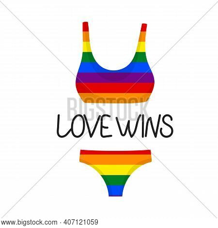 Swimsuit Flat Icons Isolated On White Background. Flag Lgbt Rainbow Colors. Template Design, Vector