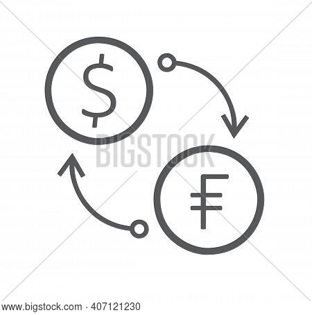 Flat Icon Of Currency Exchange Frank To Usd Isolated On White Background