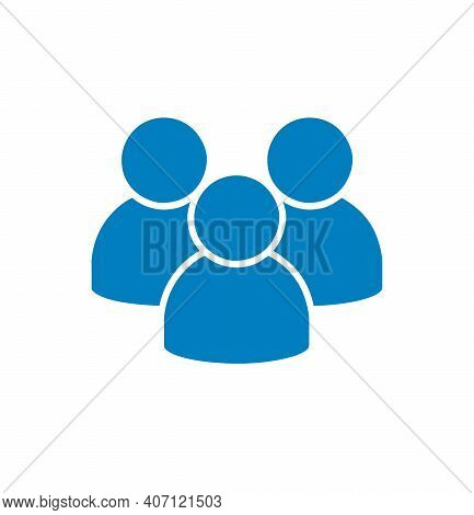 Blue Flat Icon On Group Of People Isolated On White Background