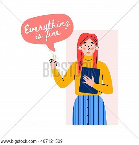 Positive Girl Gesturing Of Victory Sign With Speech Bubble - Everything Is Fine. Happy Female Charac