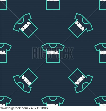 Line T-shirt With Fight Club Mma Icon Isolated Seamless Pattern On Black Background. Mixed Martial A
