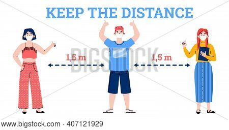 Poster Keep The Distance With Masked People Standing At A Distance, Cartoon Vector Illustration Isol