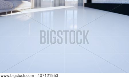 3d Rendering Of White Tile Floor New Clean And Shiny Reflection,  Grid Line Texture In Perspective V