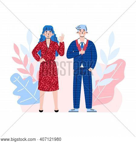 Two Business People Express Assent Or Agreement And Showing Positive Ok Gestures At Decorative Backd