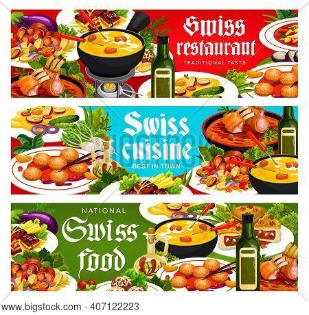 Swiss Cuisine Vector Cheese Fondue, Alpine Lamb Loin, Engadinsky Nut Pie, Ragu Salmi. Grizon Lamb, B