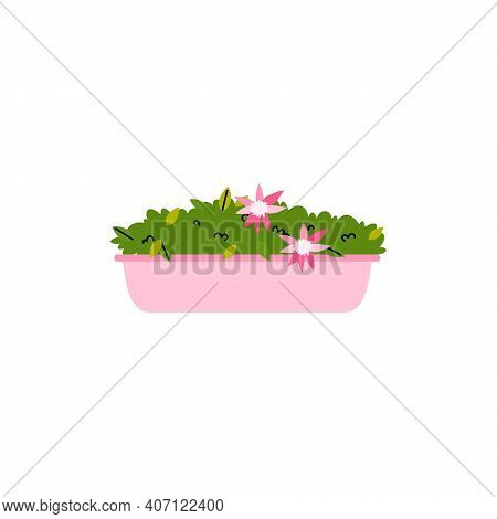 Elongated Flower Pot With Blooming House Plant, Cartoon Vector Illustration Isolated On White Backgr