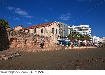 Larnaca, Cyprus - 06 Jan 2016. The Seafront In Larnaca City, Cyprus