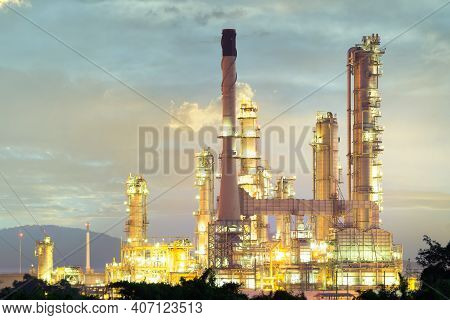 Oil Refinery Plant And Industrial Factory Building Construction From Engineering Technology And Stee