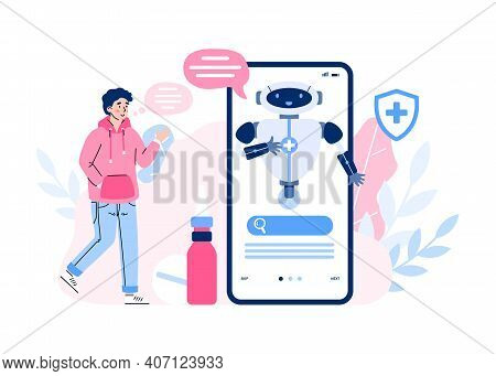 Medical Chatbot, Robot Doctor On Screen For Service And Support Patients. Man Receive Treatment Or B