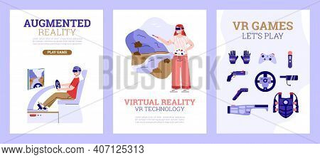 Set Of Banners With People Using Virtual Or Augmented Reality Devices, Cartoon Vector Illustration.