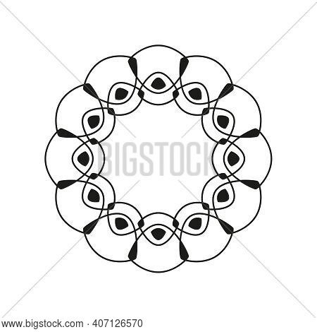 Vector Circular Banner With Thin Intersecting Lines. Black Circle Frame
