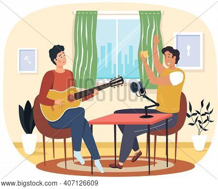 Man Sings Song Into Microphone And Records Audio. Guy Listens To Song And Claps His Hands. Guy Playi