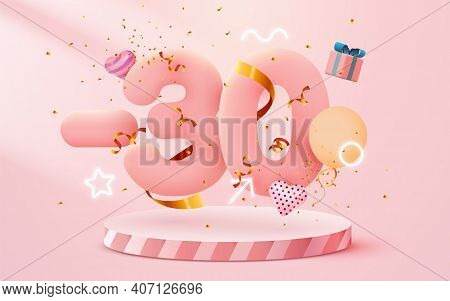 30 Percent Off. Discount Creative Composition. 3d Sale Symbol With Decorative Objects, Heart Shaped