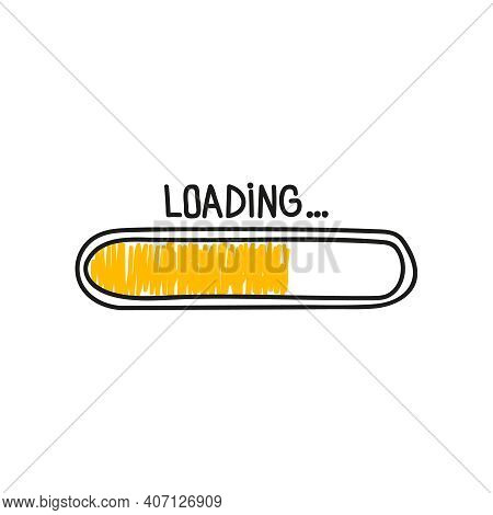 Loading Bar Doodle Icon With Yellow Indicator. Vector Illustration On White Background.