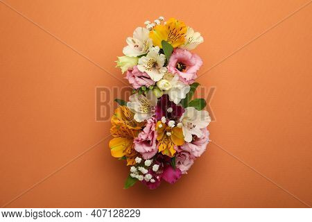 Number 8 Made Of Beautiful Flowers On Orange Background, Flat Lay. International Women's Day