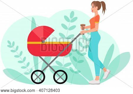 The Woman Is Walking With A Stroller. Vector Mom Walks With A Stroller Along The Street. A Woman Wal