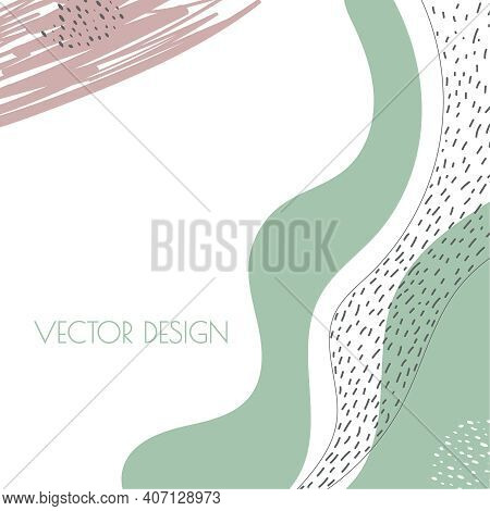 Trendy Abstract Background With Organic Flowing Shapes. Vector Art Template In Pastel Colors For Soc