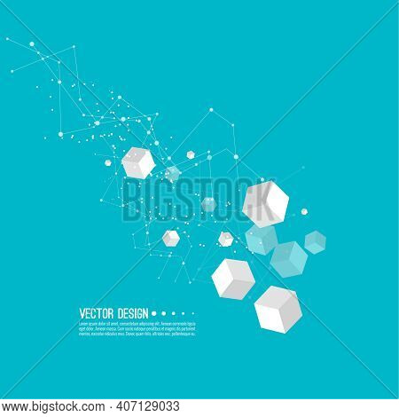 Abstract Background With Transparent Cubes And And Communication Particles. Vector Techno Illustrati