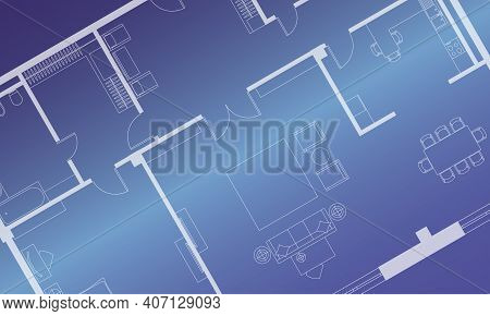 Architectural Background. Part Of Architectural Project, Architectural Plan Of The Apartment. Blue V