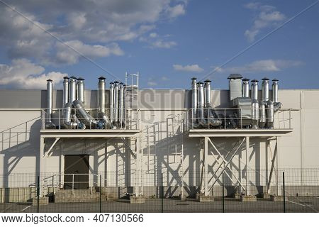 Outdoor Metall Air Ducts Ventilation System Of A Factory Modern Industry