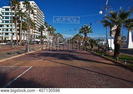 Larnaca, Cyprus - 06 Jan 2016: The Seafront In Larnaca City, Cyprus