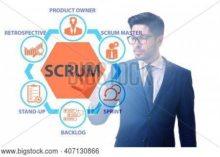 Businessman in SCRUM agile method concept