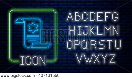 Glowing Neon Torah Scroll Icon Isolated On Brick Wall Background. Jewish Torah In Expanded Form. Sta