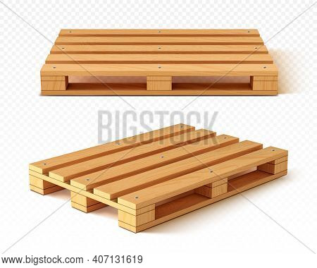 Wooden Pallet Front And Angle View. Wood Trays For Cargo Loading And Transportation. Freight Deliver