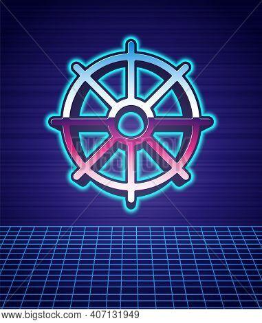 Retro Style Dharma Wheel Icon Isolated Futuristic Landscape Background. Buddhism Religion Sign. Dhar