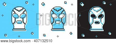 Set Mexican Wrestler Icon Isolated On Blue And White, Black Background. Vector