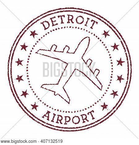Detroit Airport Stamp. Airport Of Detroit Round Logo. Vector Illustration.