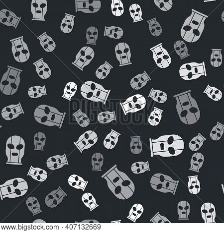 Grey Mexican Wrestler Icon Isolated Seamless Pattern On Black Background. Vector