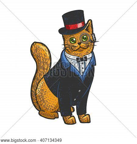 Cat In Tuxedo Blazer Coat Top Hat And Glasses Color Sketch Engraving Vector Illustration. T-shirt Ap