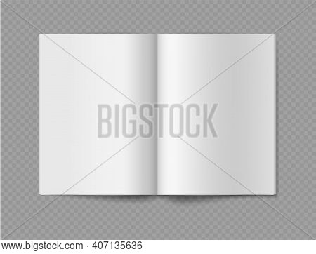 Empty Book Mockup. Opened 3d Realistic Booklet Or Brochure Soft Cover, Album Or Catalog, Journal Or
