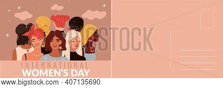 International Womans Day Card. Multiethnic Women Portraits, Beautiful Young Girls, Holiday Letter Te