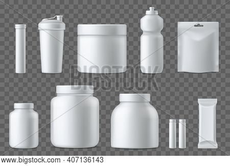 Sport Nutrition Containers. Realistic Blank White Plastic Packaging Mockups Collection. Superfood, W