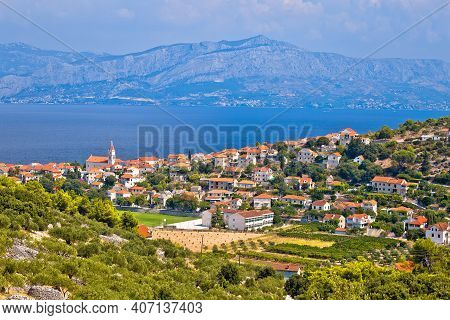 Village Of Postira On Brac Island Coastline View, Dalmatia Archipelago Of Croatia