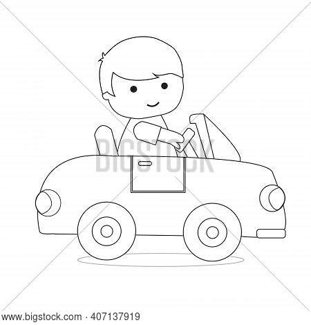 Little Boy Driving Car Outline Coloring Book For Kid Illustration Vector
