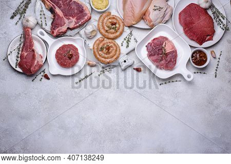 Assortment Of Various Types Of Meat. Beef, Lamb, Veal, Mutton And Chicken