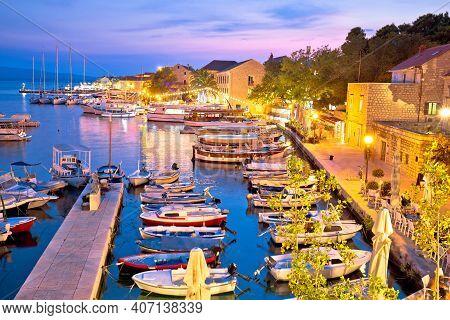 Town Of Bol On Brac Island Harbor At Sunset View, Dalmatia Region Of Croatia
