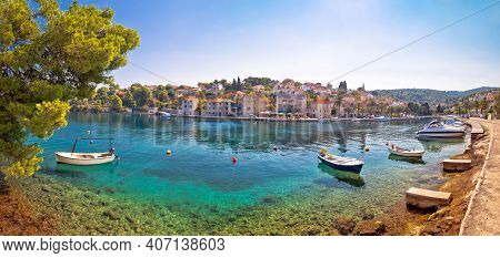 Village Of Splitska On Brac Island Seafront And Landmarks Panoramic View, Dalmatia Archipelago Of Cr