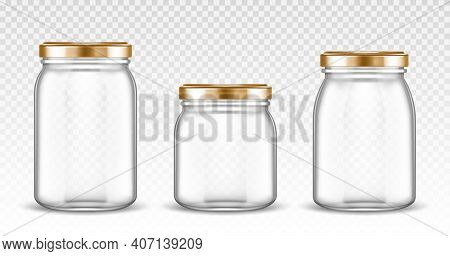 Empty Glass Jars Different Shapes With Gold Lids Isolated On Transparent Background. Vector Realisti