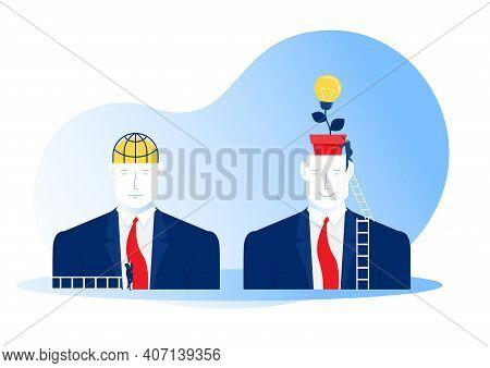 Big Head Human Think Growth Mindset Different Fixed Mindset Concept .