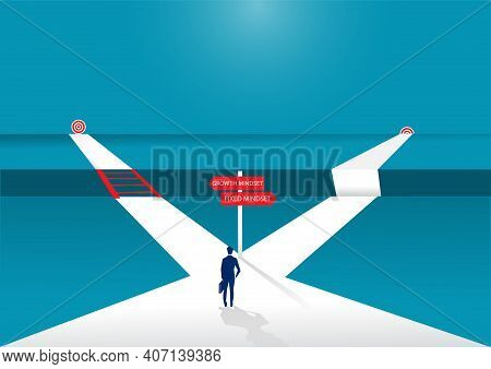 Businessman Standing On Middle Way And Choosing Direction. Growth Mindset Different Fixed Mindset Co
