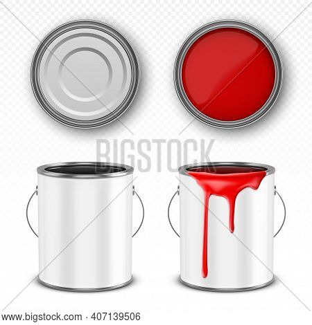 Paint Metal Bucket, Tin Can With Red Ink In Front, Top And Bottom View. Vector Realistic 3d Mockup O