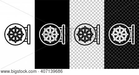 Set Line Dharma Wheel Icon Isolated On Black And White, Transparent Background. Buddhism Religion Si